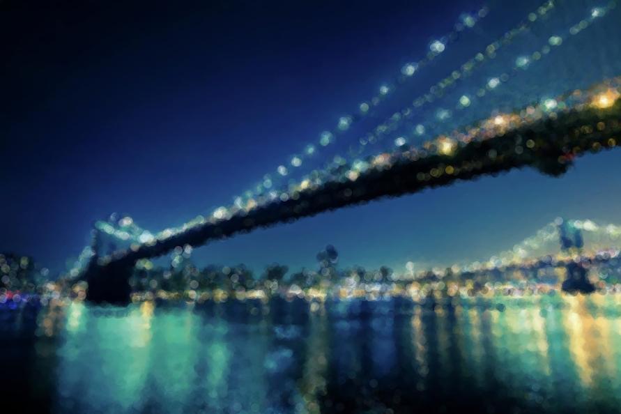 Stylized city bridge at night