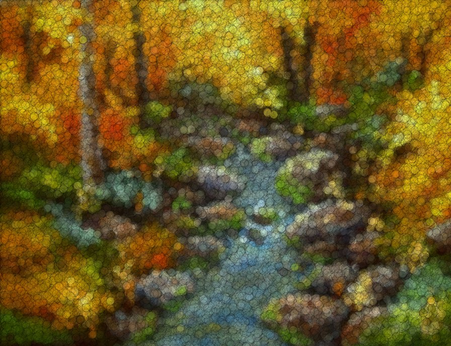 Stylized autumn forest river